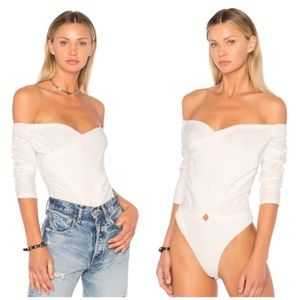 Make Offer NBD Off Shoulder Bryant Bodysuit White
